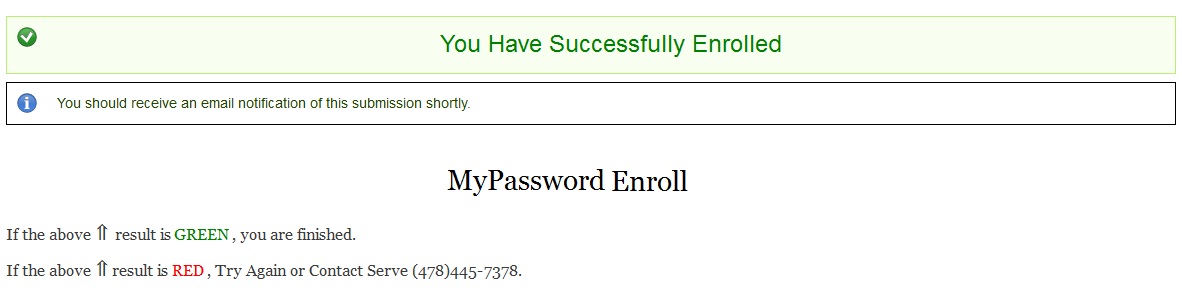 MyPassword Enroll Success